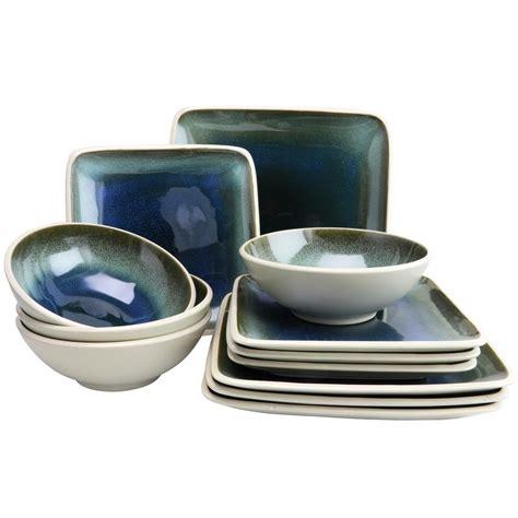 Viereckiges Geschirr by Gibson Elite Namastay 12 Blue Square Dinnerware Set
