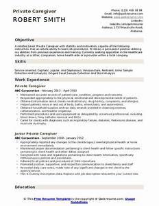 Health Aide Resume Caregiver Resume Samples Qwikresume