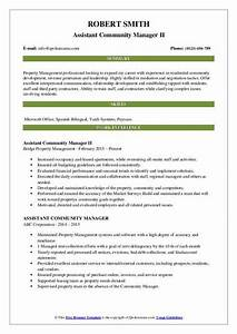 Assistant Property Manager Resume Objective Assistant Community Manager Resume Samples Qwikresume