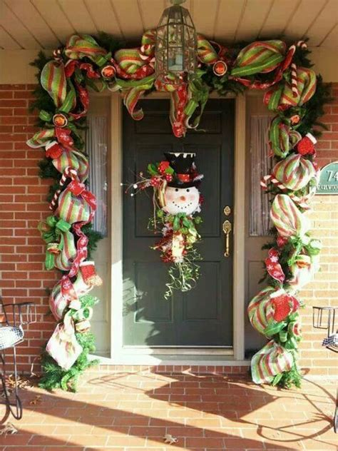 garland around front door snowmen you could use white mesh bath 3736