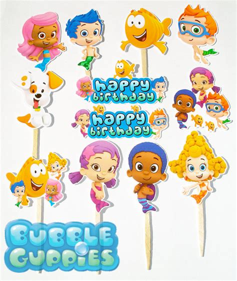 items similar to 12 bubble guppies birthday party cupcake
