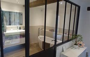 verriere et cloison vitree type atelier d39artiste With porte d entrée pvc avec cloison de verre salle de bain