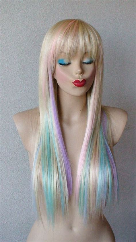Blonde Pastel Color Highlights Wig Long Straight Hair