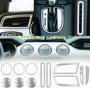 For 2015-2019 Ford Mustang Interior Accessories Decor Trim Cover Silver 15pcs | eBay
