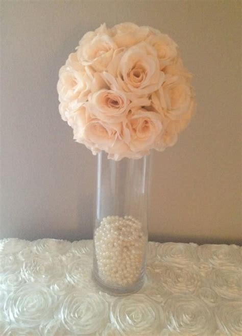 premium soft silk peach blush flower ball wedding