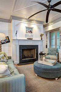 Living, Room, With, Tiled, Fireplace, Large, Ceiling, Fan, And, Coastal, Accents