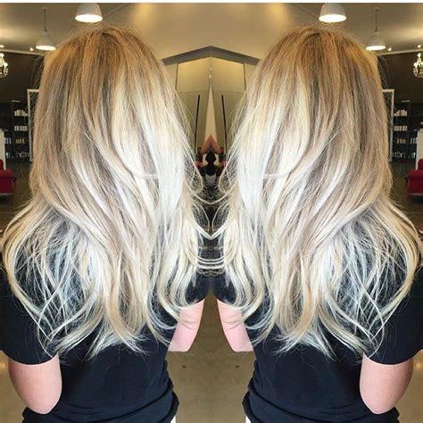 sorta straightsorta wavy long platinum blonde layered