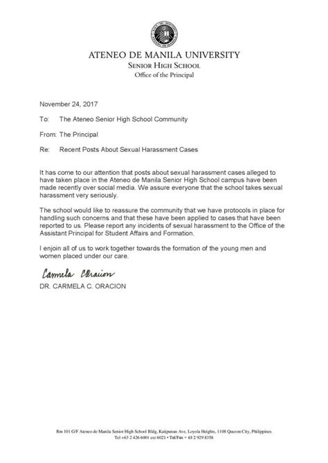 The ASHS Principal's Statement Regarding Sexual Harassment