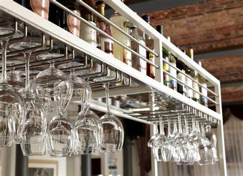bespoke overhead glasses rails bottle racks andy