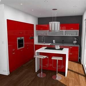 Charmant cuisine rouge et gris et cuisine rouge et for Idee deco cuisine avec deco cuisine rouge