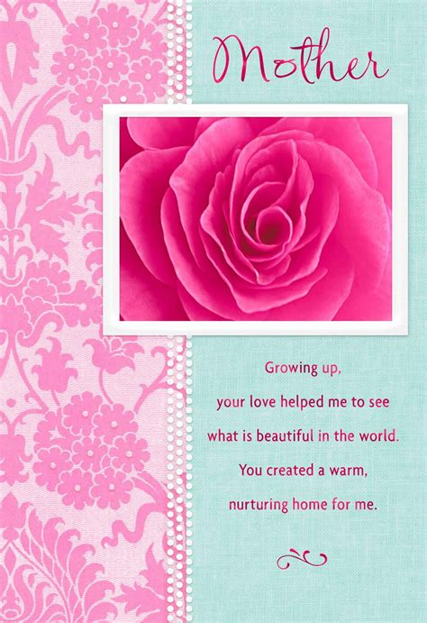 pink rose  border birthday card  mom greeting
