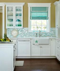 turquoise blue white beach theme kitchen paradise With kitchen colors with white cabinets with metal starfish wall art