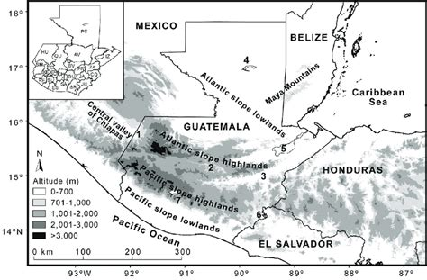 altitudinal zones geographic guatemala features major map showing interior publication