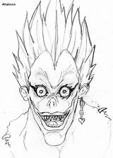 Ryuk Death Note Coloring Manga Drawing Anime Sketch Deviantart Dessin Template Imagixs Credit Larger Fan sketch template