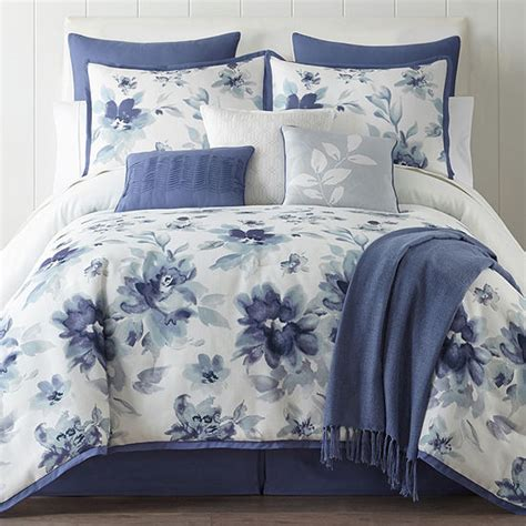 home expressions 10 pc floral comforter color blue jcpenney
