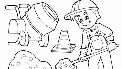 Construction Coloring Pages Worker Printable Excavator Getcolorings