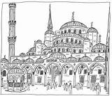 Mosque Istanbul Coloring Turkey Drawing Camii Sultanahmet Sketch Hagia Mosques Flickr Drawings Pages Designlooter Sketches Architecture Sofia Adult Books 886px sketch template