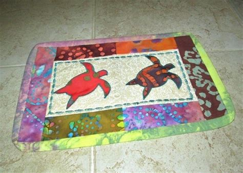 Batik Tie Dye Sea Turtle Quilted Candle Mat Mug Rug Mini