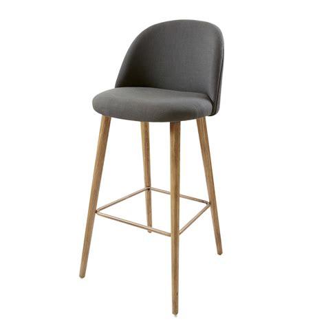 chaise plan de travail chaise de bar vintage gris anthracite et frêne mauricette