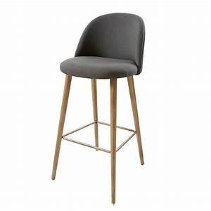 Chaise En Tissu Gris : chaise de bar vintage en tissu gris anthracite mauricette maisons du monde ~ Teatrodelosmanantiales.com Idées de Décoration