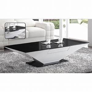 Table Basse Noire Design : chloe design table basse design laquee blanc haute brillance et verre noir elyane tous les ~ Carolinahurricanesstore.com Idées de Décoration