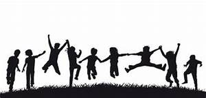 Happy jumping children silhouettes Stock Image | play ...