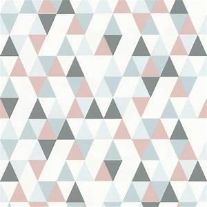 Papier Peint Rose Et Gris : papier peint triangle hej rose 218183 de la collection ~ Dailycaller-alerts.com Idées de Décoration