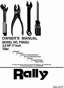 Rally Front Tine  Gas Tiller Manual L0310225