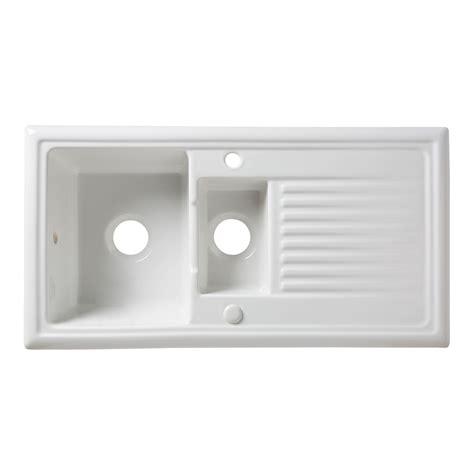 ceramic kitchen sinks b q cooke lewis burbank 1 5 bowl white ceramic sink 5180