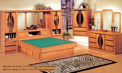 Oak King Bedroom Set by Waterbed Matrix 72 Quot Wall Unit Or With Waterbed Ek Cking