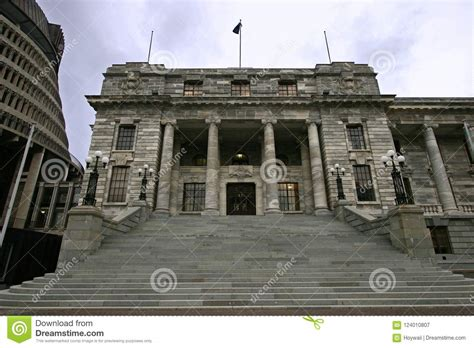 edwardian parliament  grey stone  classic colonnade entry  grand stairs wellington