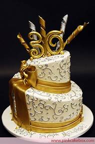 Gold 30th Birthday Cake