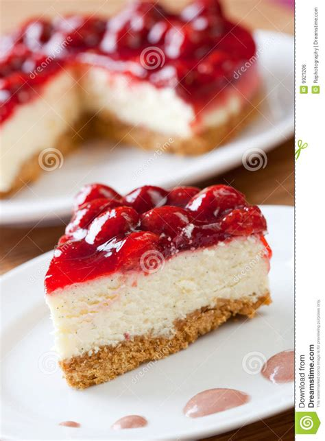 slice  delicious strawberry cheese cake stock photo