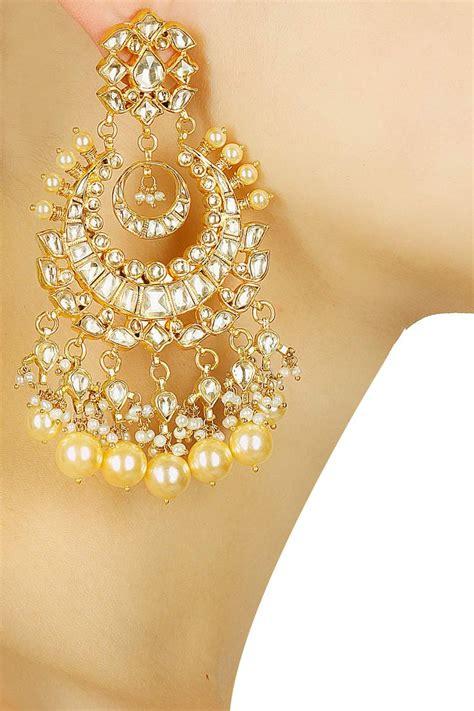 gold plated royal kundan mughal chandbalis available only