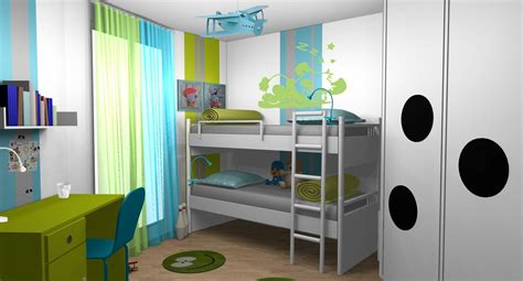 chambre enfant garcons anis turquoise lits superposes