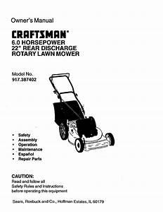 Craftsman Lawn Mower 917 387402 User Guide
