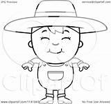 Farmer Mean Boy Cartoon Clipart Coloring Smiling Vector Outlined Thoman Cory Royalty Clipartof Regarding Notes sketch template