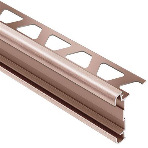 schluter rondec schluter rondec ct brushed copper anodized aluminum 3 8 in x 8 ft 2 1 2 in metal double rail