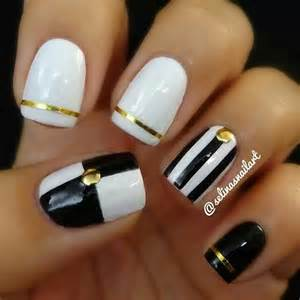 Black white gold nail art nails and