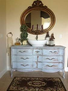 29 vintage and shabby chic vanities for your bathroom With old dresser made into bathroom vanity