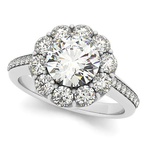 floral design  halo engagement ring  white gold
