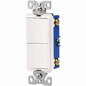 Leviton 15 Amp Combination Double Switch  White