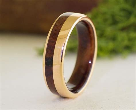 Mens Wedding Band Rose Gold 18k And Walnut Ring Gold And Wood