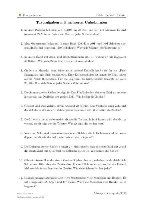 Textaufgaben Mit Mehreren Unbekannten  Aufgaben Mit