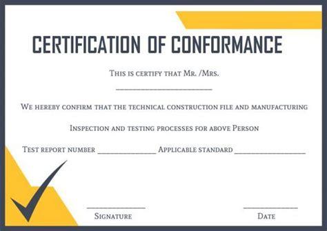 certificate  conformance template certificate
