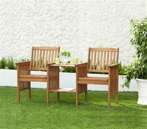 garden set wooden table chairs 2 seater bench wooden deck