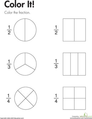 fraction practice color it worksheet education com