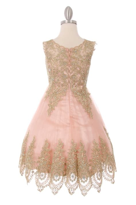 pink gold trim girls party dress ages   flower