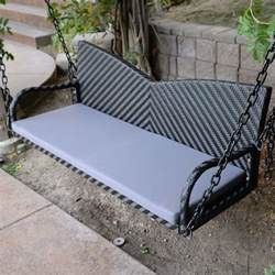 black 52 quot patio porch swing chair resin wicker tree