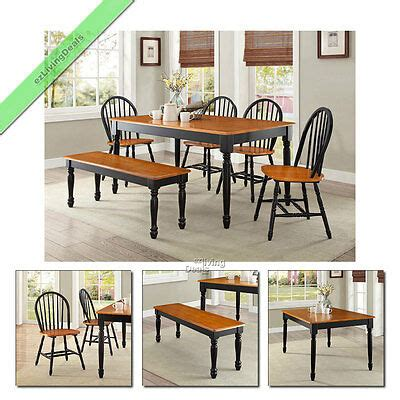 Kamila black marble dining table with 6 chairs robson furniture. 6 Pc Dining Set Farmhouse Wood Table Bench Chairs Room ...